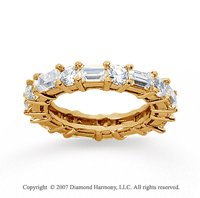 2 1/2  Carat Diamond 14k Yellow Gold Eternity Round Baguette Band