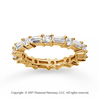 1 1/2 Carat Diamond 18k Yellow Gold Eternity Round Baguette Band