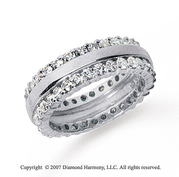 2 Carat Diamond Platinum Eternity Round Prong Band