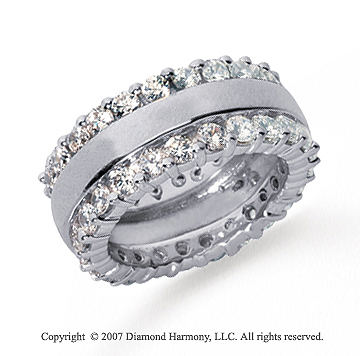 2 1/2 Carat Diamond Platinum Eternity Round Prong Band