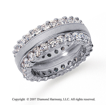 3 1/2 Carat Diamond 18k White Gold Eternity Round Prong Band