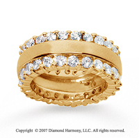 2 1/2 Carat Diamond 18k Yellow Gold Eternity Round Prong Band