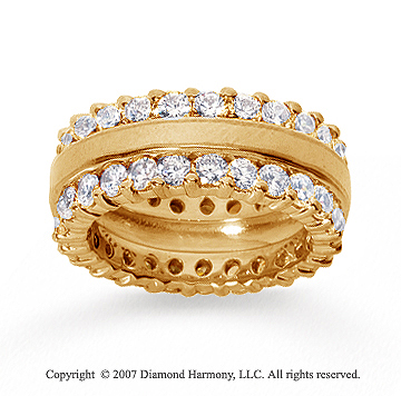 3 1/2 Carat Diamond 18k Yellow Gold Eternity Round Prong Band