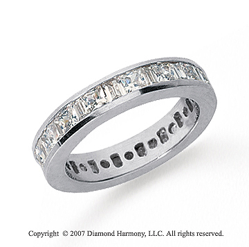 2 Carat Diamond Platinum Princess and Baguette Eternity Band
