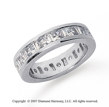 3 1/2 Carat Diamond Platinum Princess & Baguette Eternity Band