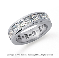 4 Carat Diamond Platinum Princess and Baguette Eternity Band