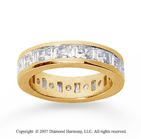3 1/2 Carat Diamond 18k  Y Gold Princess & Baguette Eternity Band
