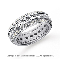 2 Carat Diamond 14k White Gold Eternity Round Princess Band