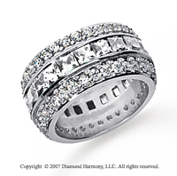 5 Carat Diamond 18k White Gold Eternity Round Princess Band