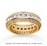 2 1/2 Carat Diamond 14k Yellow Gold Eternity Round Princess Band