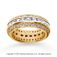 2 Carat Diamond 18k Yellow Gold Eternity Round Princess Band