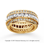 3 1/2 Carat Diamond 18k Yellow Gold Eternity Round Princess Band