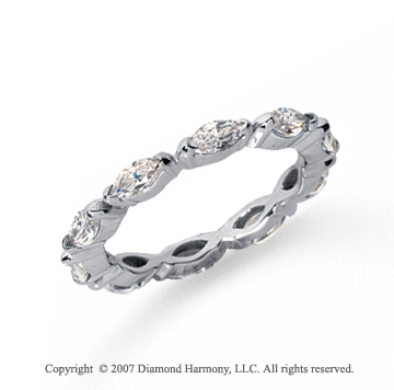 1 1/2 Carat Diamond Platinum Eternity Marquise Half Bezel Band