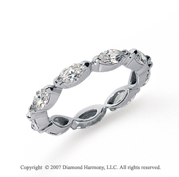 2 1/4 Carat Diamond Platinum Eternity Marquise Half Bezel Band