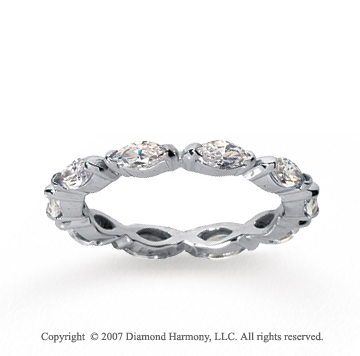1 1/2 Carat Diamond 14k White Gold Eternity Marquise Half Bezel Band