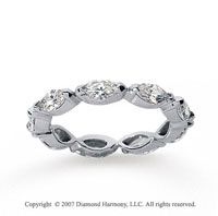2 1/4 Carat Diamond 14k White Gold Eternity Marquise Half Bezel Band