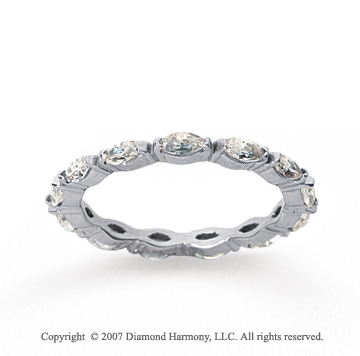 1 Carat Diamond 18k W Gold Eternity Marquise Band