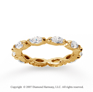 1 1/2 Carat Diamond 14k Yellow Gold Eternity Marquise Half Bezel Band