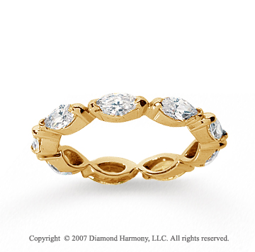 2 1/4 Carat Diamond 18k Y Gold Eternity Marquise Half Bezel Band