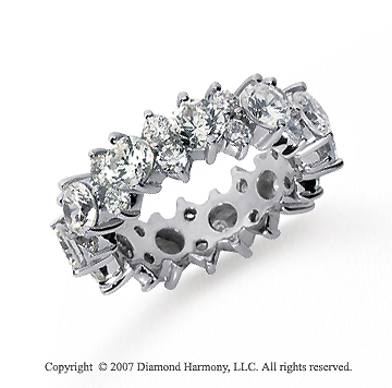 4 1/2 Carat Diamond Platinum Eternity Round Prong Band