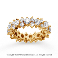 2 1/2  Carat Diamond 14k Yellow Gold Eternity Round Prong Band