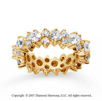 3 Carat Diamond 18k Yellow Gold Eternity Round Prong Band