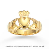 14k Yellow Gold Crowned Heart Classy Men's Fashion Ring