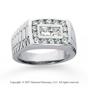 14k White Gold Stylish 1.50 Carat Men's Diamond Ring