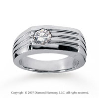 14k White Gold Slick Bezel 1/2 Carat Men's Diamond Ring