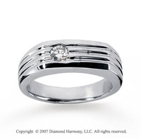 14k White Gold Slick Bezel 1/4 Carat Men's Diamond Ring