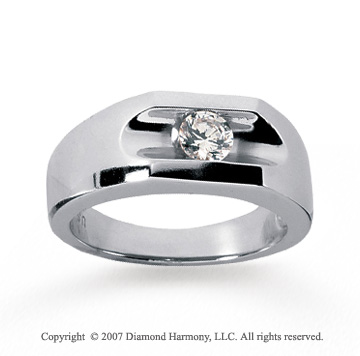 14k White Gold Channel 1/2 Carat Men's Diamond Ring