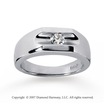 14k White Gold Channel 1/4 Carat Men's Diamond Ring