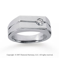 14k White Gold Round Bezel 1/4 Carat Men's Diamond Ring
