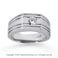 14k White Gold Round Bezel 1/2 Carat Men's Diamond Ring