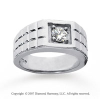 14k White Gold Slick Prong 1/2 Carat Men's Diamond Ring
