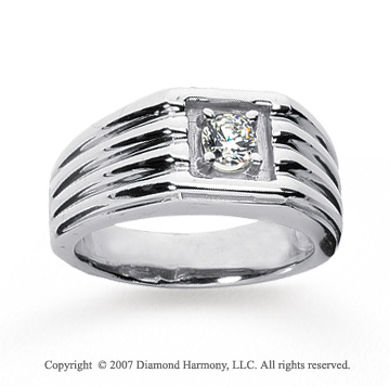 14k White Gold Groove Round 1/2 Carat Men's Diamond Ring