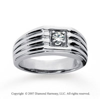14k White Gold Groove Round 1/4 Carat Men's Diamond Ring