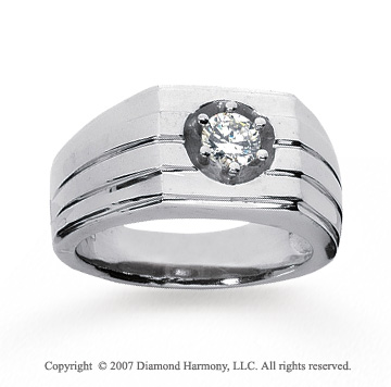14k White Gold Trendy Prong 1/2 Carat Men's Diamond Ring