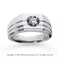 14k White Gold Trendy Prong 1/4 Carat Men's Diamond Ring
