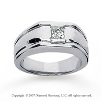 14k White Gold Stylish Bezel 1/2 Carat Men's Diamond Ring