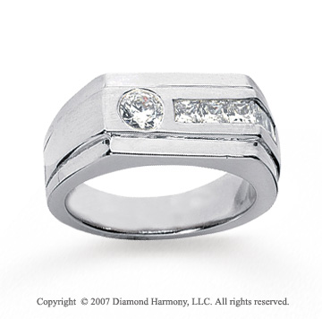 14k White Gold Slick Modern Style Men's Diamond Ring