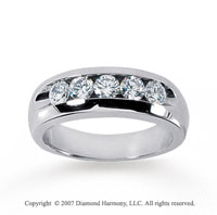14k White Gold Channel 1.00 Carat Men's Diamond Ring
