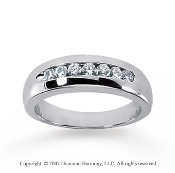 14k White Gold Channel 1/3 Carat Men's Diamond Ring