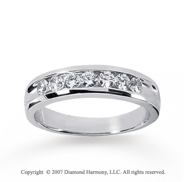 14k White Gold Sleek Trendy 0.70 Carat Men's Diamond Ring