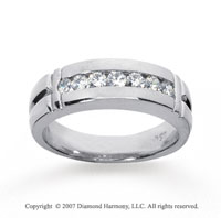 14k White Gold Modern Sleek 0.70 Carat Men's Diamond Ring