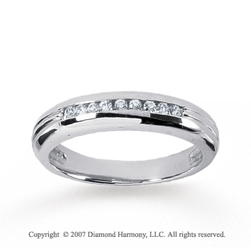 14k White Gold Slim Round 1/4 Carat Men's Diamond Ring
