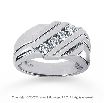 14k White Gold Modern Stylish 0.60 Carat Men's Diamond Ring