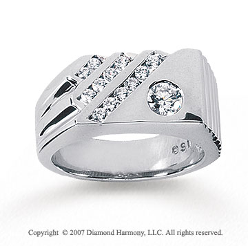 14k White Gold Modern Style Bezel Channel Diamond Ring