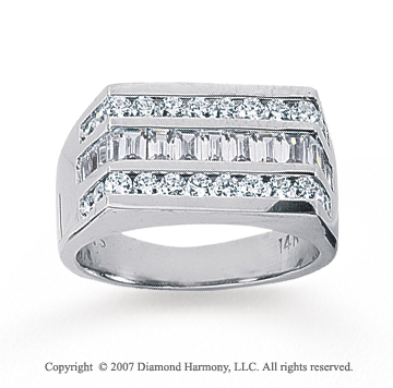 14k White Gold Classy Slick Channel Men's Diamond Ring