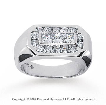 14k White Gold Classy Multi Carat Men's Diamond Ring